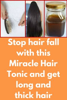 Stop hair fall with this Miracle Hair Tonic and get long and thick hairStop hair fall and regrow hair naturally and get long, thick and shiny hair with this miraculous hair tonic. It is an ayurvedic hair tonic that is made up of best ingredients that inst Healthy Hair Tips, Healthy Hair Growth, Hair Growth Tips, Regrow Hair Naturally, Grow Natural Hair Faster, Hair Pack, Hair Tonic, Extreme Hair, Hair Loss Women