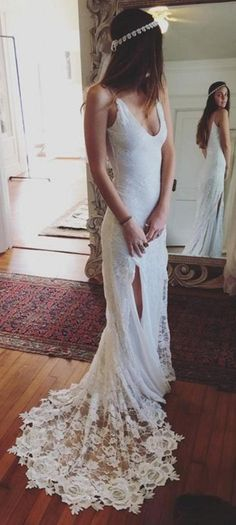 Lace Wedding dresses, Online Wedding Dresses, Long Wedding Dresses, Cheap Lace Wedding Dresses, Cheap Wedding Dresses Online, Cheap Wedding Dresses, Wedding Dresses Cheap, Cheap Dresses Online, Wedding Dresses Online, Sheath/Column Wedding Dresses, Ivory Wedding Dresses, Long Ivory Wedding Dresses With Lace Sweep Train Straps Sale Online
