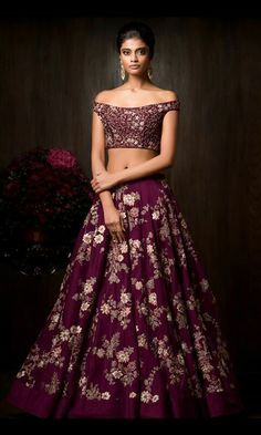 Buy Purple Color Crop Top And Skirt by Akanksha Singh at Fresh Look Fashion Indian Wedding Outfits, Bridal Outfits, Indian Outfits, Bridal Dresses, Wedding Dress, Wedding Bride, Choli Designs, Lehenga Designs, Pakistani Dresses