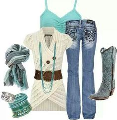 LOLO Moda: Stylish Women's Fashion Love the turquois, this outfit is cute Mode Outfits, Girl Outfits, Casual Outfits, Fashion Outfits, Womens Fashion, Outfits Winter, Spring Outfits, Estilo Cowgirl, Cowgirl Style