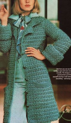 "This 1970s crochet jacket features an unusual star stitch variation! I've swatched this one and it includes ""purled"" loops."