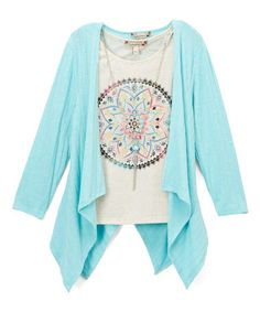 Another great find on #zulily! Mint & White Geometric Tee & Drape Cardigan Set - Girls #zulilyfinds