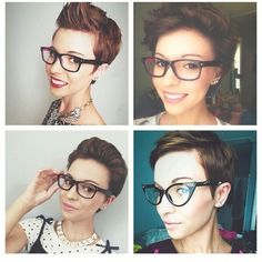 4 ways to wear a pixie with glasses, great looks! Pixie Hairstyles, Pixie Haircut, Pretty Hairstyles, Short Hair Cuts, Short Hair Styles, Pixie Cuts, Pixie Styles, Haircut And Color, Look Vintage
