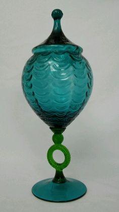 Empoli Apothecary Jar Blue Green Art Glass Mid Century Modern Vtg Italian Italy
