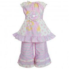 Annloren Baby Girls Pink Floral Stripes Dots Tunic Capri Boutique Outfit 12-24M