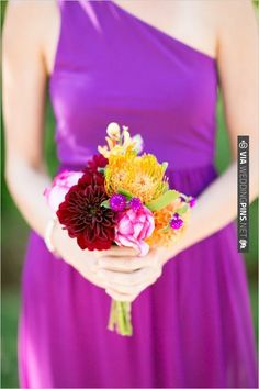 small colorful bridesmaid bouquet by NLC Productions | VIA #WEDDINGPINS.NET