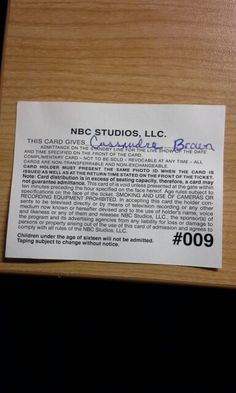 SNL Ticket (Back)