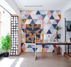 A+A cooren designs debut showroom for bien fait wallpaper in paris