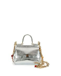 Miss Sicily Small Metallic Python Satchel Bag, Silvertone by Dolce & Gabbana at Neiman Marcus.