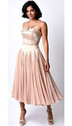 Iconic by UV Champagne Satin & Chiffon Dovima Ballerina Swing Dress.