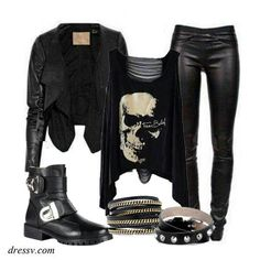 Biker style... can this be me???  Thank goodness he isn't always taking the bike!  But, when he does...I'm sure he won't mind if I wear this!!