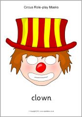 A fun set of printable masks for use in a circus-themed role-play area. Clown Crafts, Role Play Areas, Printable Masks, Dramatic Play Centers, Free Teaching Resources, Monthly Themes, Free Boxes, Play Centre, Spring Theme