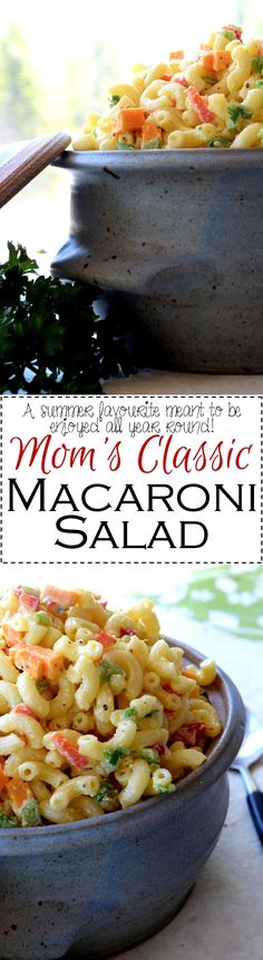 Mom's Classic Macaroni Salad - Summer time fun is no fun at all without Mom's Classic Macaroni Salad – creamy and rich in flavour with bell peppers and a little cheddar cheese; it's the fond memories you'll make which helps to round out this old-fashioned favourite.