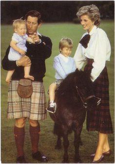Charles & Diana & William & Harry. Christmas card photo 1985