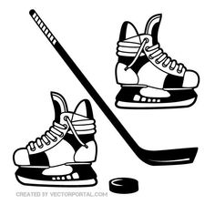 Hockey gear vector illustration.