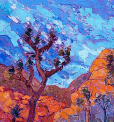 Joshua Tree impressionist oil painting by famous California painter. 36 X 48. $9,400