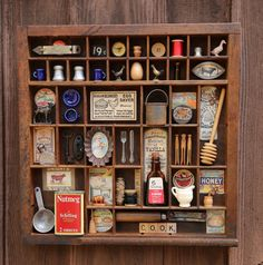 Excited to share this item from my shop: Vintage Cooking - Found Object Kitchen Assemblage Art Printers Tray Vintage Display, Vintage Cooking, Vintage Kitchen, Assemblage Kunst, Letterpress Drawer, Brown Glass Bottles, Printers Drawer, Spice Tins, Shadow Box Art