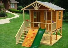 The Kookaburra Loft #cubbyhouse is perfect for any backyard and has everything you could need...a cool cubby, a covered porch, a rock climbing wall, a slide, steps and even space underneath for a sand pit!