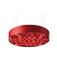 LZF Lamps | Spiro, Large Suspension Lamp in red | Wood touched by Light | Handmade Wood Lighting since 1994