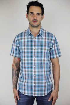 Relwen Lawn Plaid in Aqua/Brown Plaid