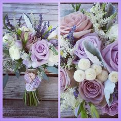 Bridal bouquet of Amnesia roses, Ocean Song roses, button chamomile,  veronica,  ranunculus,  lavender,  dusty miller,  astilbe and seeded eucalyptus