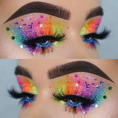 Rainbow Glitter Eyes Makeup Look For Your Next Electronic Music Festival Or Rave Pride Makeup Ideas Electronic Eyes Festival Glitter Makeup Music Rainbow Rave Makeup Eye Looks, Eye Makeup Art, Colorful Eye Makeup, Eyeshadow Makeup, Glitter Makeup Looks, Star Makeup, Eyeshadow Designs, Makeup Brushes, Glitter Hair