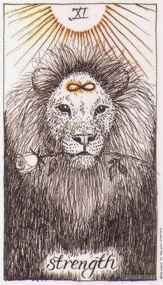 XI. Strength  - The Wild Unknown Tarot by Kim Krans