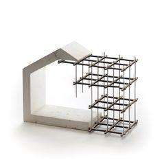 Terrace housing concept model. Plaster, laser-cut card, steel pins.