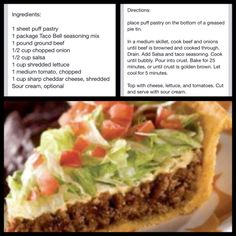 Taco Pie>>>>>> can use regular pie shell