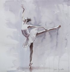 Dusky Arabesque A delicate watercolour painting of a ballerina on stage. The light colours reflect the lightness, elegance and lift of the dancer. Ships FLAT Measures 16.5 x 16.5 Painted on quality arches 100% cotton paper that is flat and has no rippling, will be shipped flat