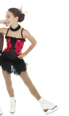 NEW COMPETITION SKATING DRESS Elite Xpression Black Red 1422 6x 7 39e34bd9d38de