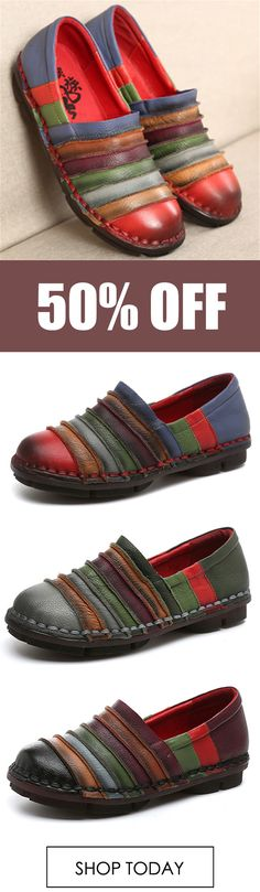 SOCOFY Genuine Leather Colorful Comfortable Flat Loafers. #fashion #shoes