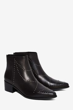 Grey City Wendy Studded Leather Ankle Boot   Shop Shoes at Nasty Gal!