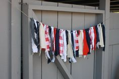 Patriotic Denim & Fabric Bunting, Red White and Blue Rag Tie Garland, Party Decor, Photo Prop, Country Chic, Rustic Americana, July 4th on Etsy, $25.00