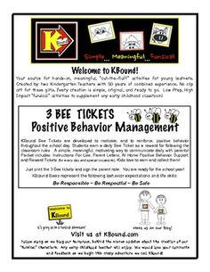 3 BEE  TICKETS Positive Behavior Management support