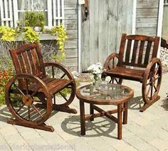 wagon+wheel+table | ... about Classical Wagon Wheel Wooden 3 Piece Bistro Set - Table & Chairs