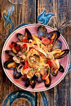 Fettuccine with mussels, clams, calamari and shrimp at Sicilia in Tavola in Syracuse.