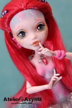 OOAK Custom Monster High Repaint  Pink Jellyfish by Azyntil