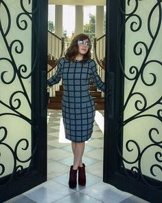 One of the looks from our fall/winter collection: A woolen gray #dress checked with lines of delicate blue #fur.  #wool #warm #winter #fashion #style #stylist #dress #fw #fashionista #ootd #model #checks #fur #coloredfur #chic #hautecouture #shoptoday #photooftheday #instafashion