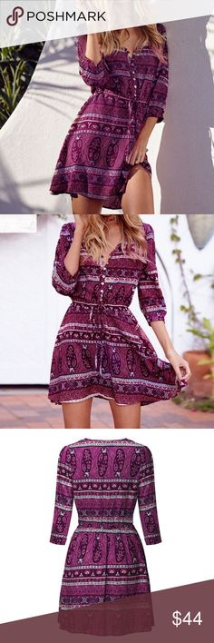 """Sun Dress (S-5x) a-line, bold beautiful and vibrant print, 3/4 length sleeve, v-neck, button closures, drawstring waist  ❤Add this to your """"likes"""" to get updates. Optional: Purchase now & I'll automatically ship arriving sizes when they are in stock. ❓Ask all your questions before you buy so I can make your purchase perfect. Dresses"""