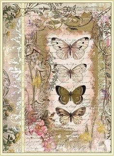 lamina con mariposas Butterflies & hearts symbols the soul and change and love. this is a wonderful collage. Decoupage Vintage, Decoupage Paper, Vintage Diy, Vintage Labels, Vintage Ephemera, Vintage Paper, Vintage Cards, Vintage Butterfly, Butterfly Art