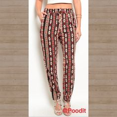 cute tribal print pants sz XS S M L  Love these tribal print pants  Gathered waist with adjustable self tie  Hidden side pockets  Straight leg fit  Baggy style  Sz XS  Elastic waist 24-26 Hips 30-32 SMALL elastic waist 26-28 hips 32-34 MEDIUM elastic waist 28-30 hips 34-36 LARGE elastic waist 30-32 hips 36-38   Inseam 30 for all  Total length top to bottom 39  NWOT  Please compare your measurements as for all sales are final  PRICE IS FIRM UNLESS BUNDLED  Boutique label Pants Straight Leg