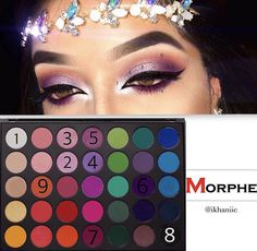 Purple shimmery / cat eyeliner morphe palette eyeshadow tutorial + pretty headpiece