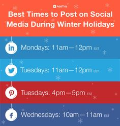 AddThis article about the best times to post on Social Media during the winter holidays.