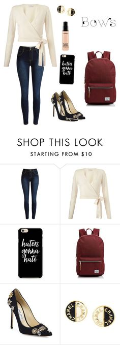 """""""Untitled #136"""" by jesspower ❤ liked on Polyvore featuring Miss Selfridge, Herschel Supply Co., Jimmy Choo, Chanel and MAC Cosmetics"""