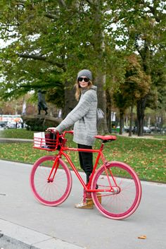We don't know what we love more — those sneakers or that bike. #PFW #models