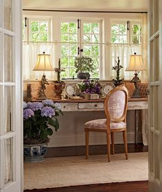 Perfect  Idea for sunroom/office... love the desk, curtains, color, flooring... door.