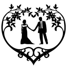 Wedding Couple Silhouette Vinyl Decal Floral Heart Frame Frame Wedding Decor Window Cling Choose Your Color via Etsy