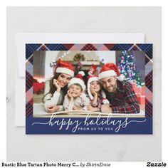Rustic Blue Tartan Photo Merry Christmas Modern Holiday Card Christmas Photo Cards, Christmas Quotes, Christmas Greetings, Holiday Cards, Tartan Christmas, Merry Little Christmas, Merry Christmas Typography, Rustic Blue, Lettering