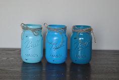 Blue Ombre Mason Jar Set Mason Jar Vanity by HendersonHouseCreate